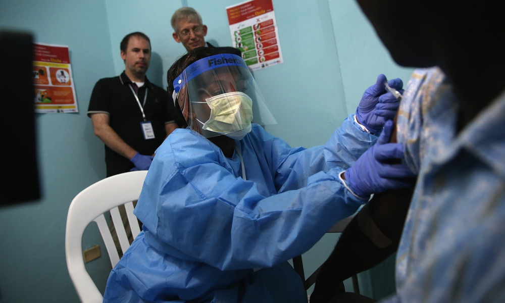 A nurse administers an injection as part of Ebola vaccine trials at Redemption hospital, in Monrovia, Liberia, in February 2015. Photograph: John Moore/Getty Images