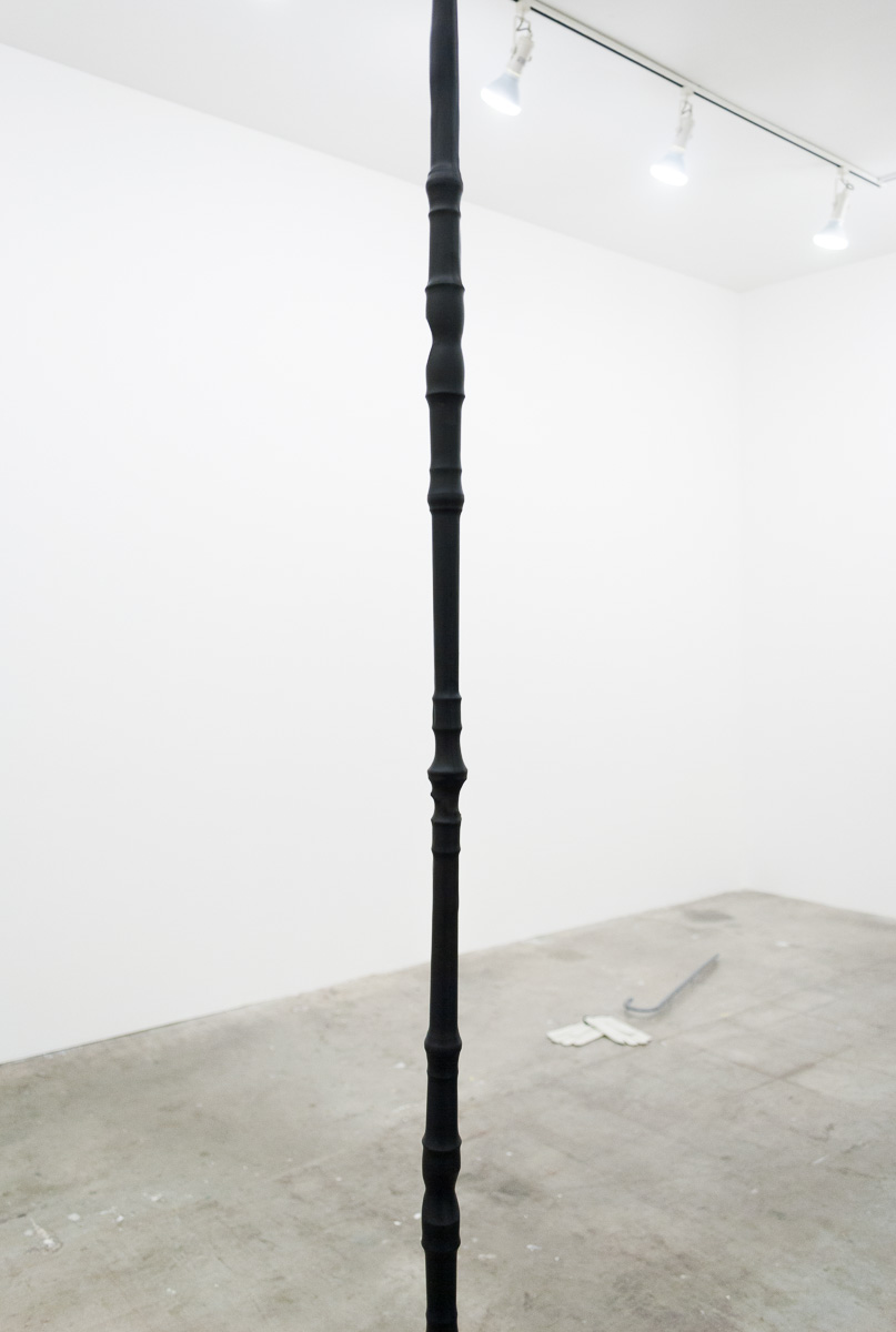 "Derek Franklin  The Straw That Fractured Our Back  Steel, Recorders, Shrink Tube 6"" x 6"" x 130"" 2015"