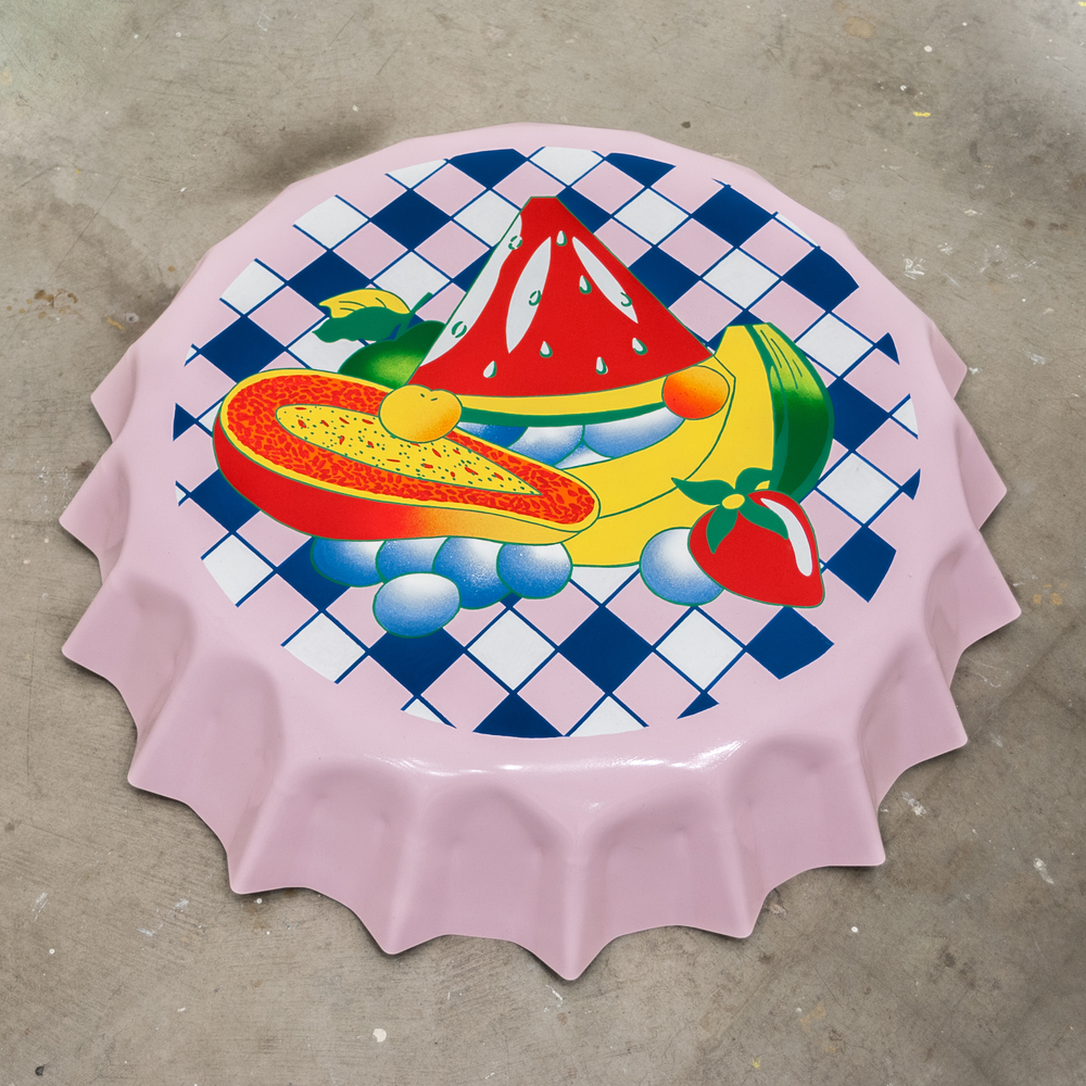 Ben Sanders  Froot  Enamel on steel 3 ft. Diameter 2015