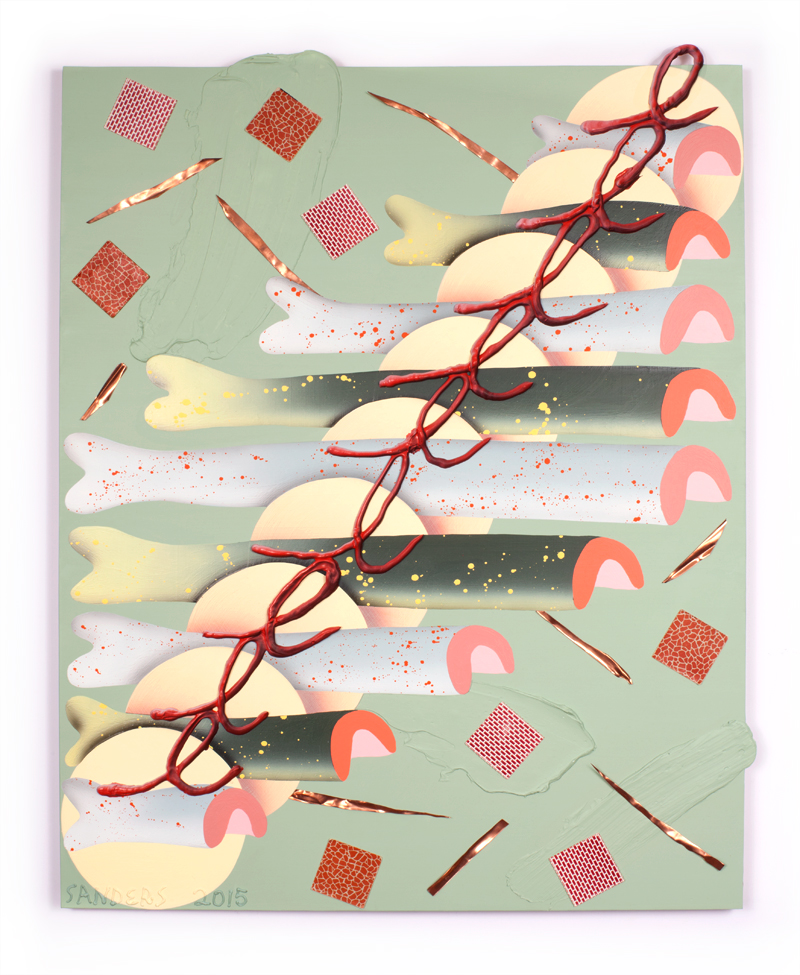 Ben Sanders  A Number of Fish Tacos  Acrylic, printed paper, plastic, copper on panel 24 x 30 inches 2015