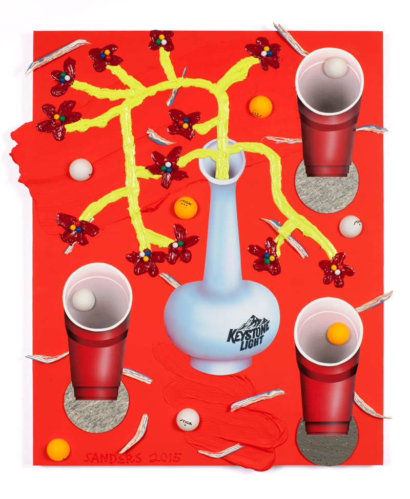 Ben Sanders  Smooth Pongin' (Smooth As Eggs)  Acrylic, rubber, ping pong balls, push pins on panel 24 x 30 inches 2015