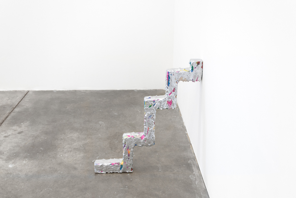 David Corbett  Sled foot  Paint, glue and wood 3 x 26 x 23 inches 2015