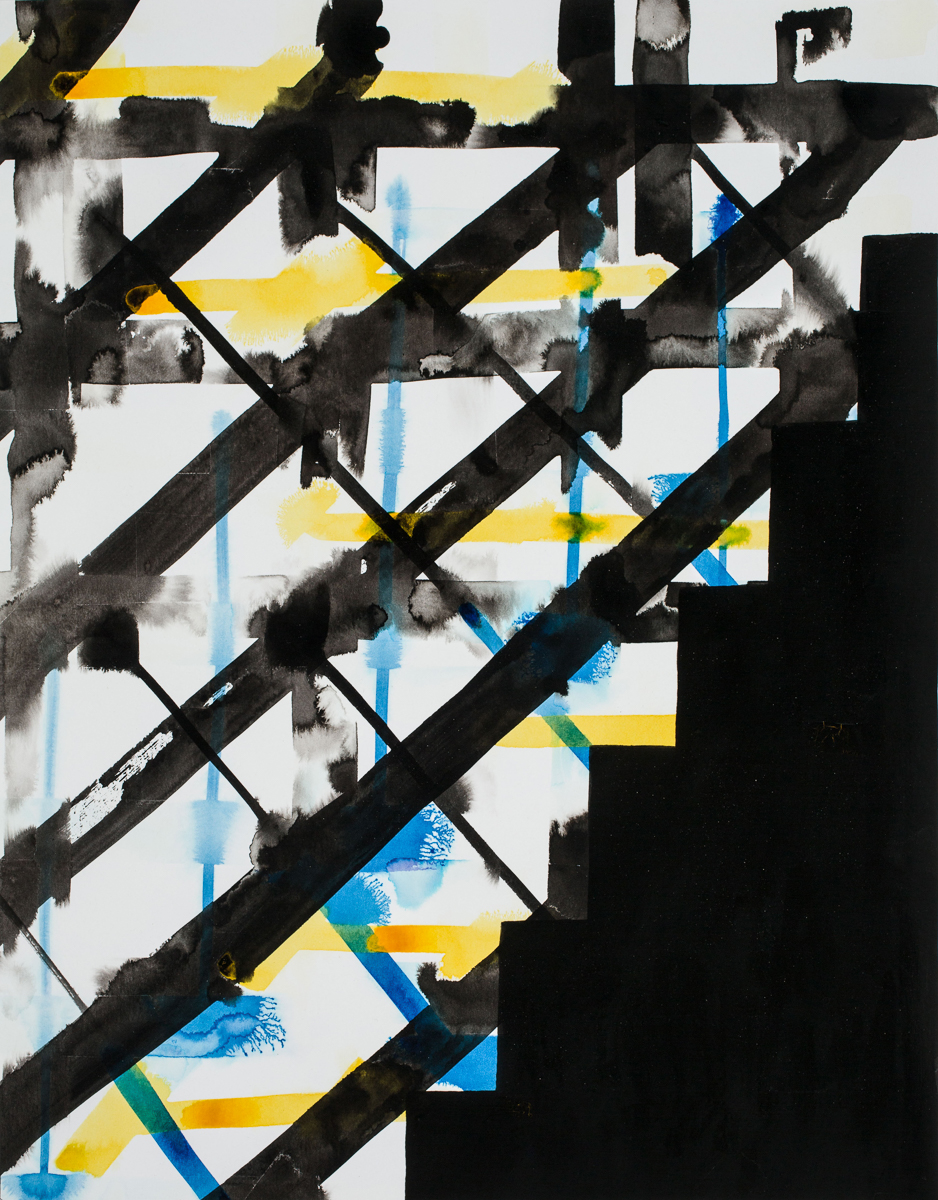 David Corbett  Risers 4  Ink, paper 18 x 14 inches 2015