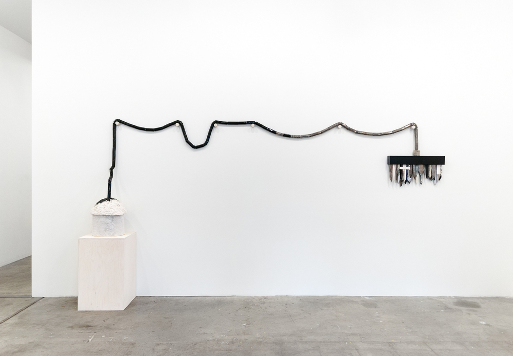 Emily Counts  Basic Diagram  2016 155 x 50 x 16 inches Stoneware, porcelain, platinum luster, wood, nylon rope, copper wire