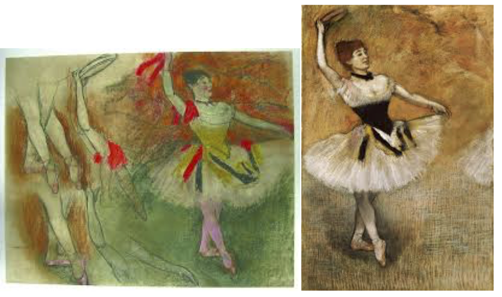 """Dancer with a Tambourine"" by Edgar Degas.  On the left, a study; on the right a painting.  Images via articles.courant.com and fineartamerica.com."