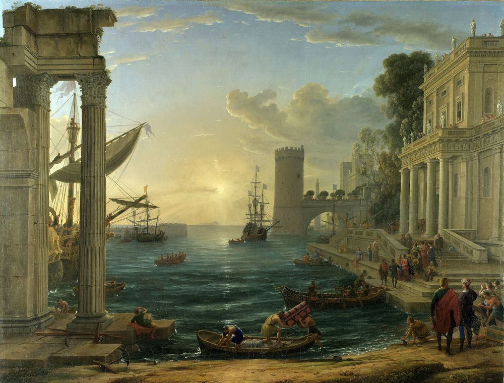 "Claude Lorraine, ""Embarkation of the Queen of Sheeba""(1648).  Image via  wikipedia.org ."