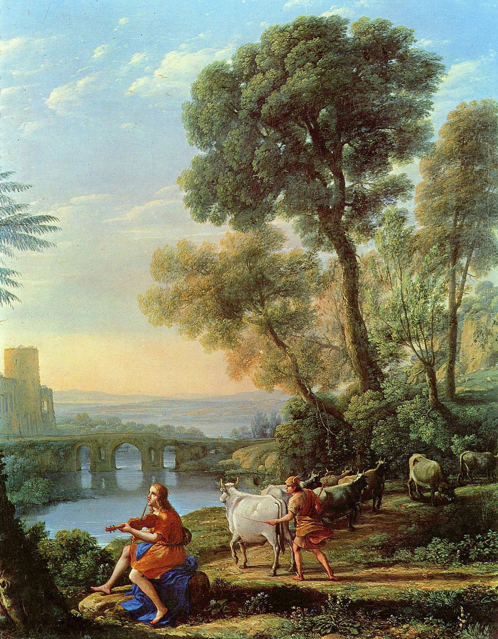"Claude Lorrain, ""Landscape with Apollo Guarding the Herds of Admetus and Mercury Stealing Them,"" (1645).  Image via  wikipedia.org ."