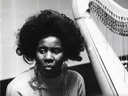 Jazz harpist and pianist Alice Coltrane.  Image via  foundmichigan.org .