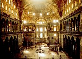 At left, the narthex at Hagia Sophia, and above, the vast room awaiting inside.  Images via orthodoxartsjournal.org and openbuildings.com.