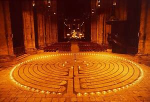 The labyrinth at Chartres Cathedral.  Image via   www.math.nus.edu.sg .