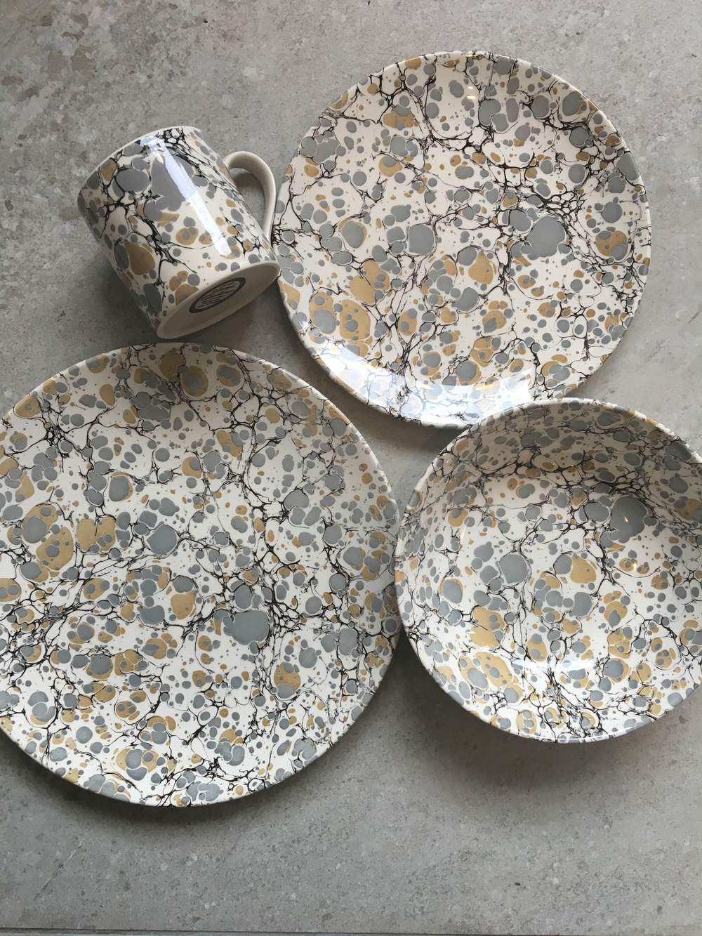 Gold Grey u0026 White Marble Effect Small Dinner Plate & Gold Grey u0026 White Marble Effect Small Dinner Plate u2014 Omnis