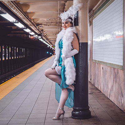 Karina Libido  , Artist in Residence at Hotel Chantelle 2017,  is an Actress and Burlesque Performer based in NYC. She is a versatile dancer with background in classical ballet, she now performs fan dances, classic burlesque, neo-burlesque and specialty acts. At the Morris-Jumel Mansion's Lady J's Social Club, you will see Karina perform both a sultry classic fan dance and an energetic flapper routine to some recognizable jazz standards.  www.karinalibido.com