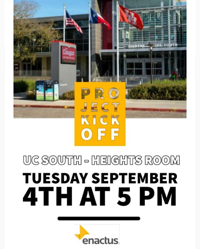 Join us as we kickoff our Fall 2018 Enactus Projects! (Tuesday, September 4th at UC-South Heights room.) We'll have a fun social at Rooftop afterward, you won't want to miss it.