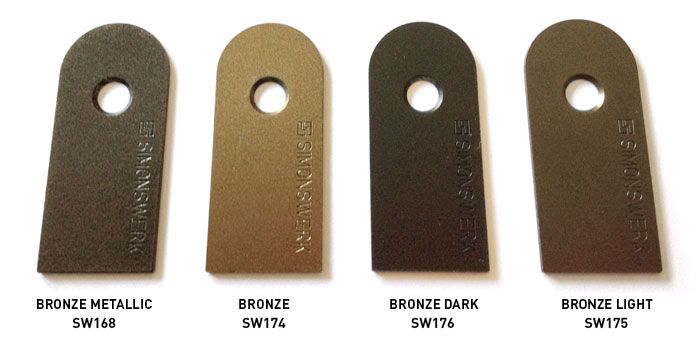 HERE ARE THE NEW BRONZE FINISHES IN RELATION TO THE BRONZE METALLIC