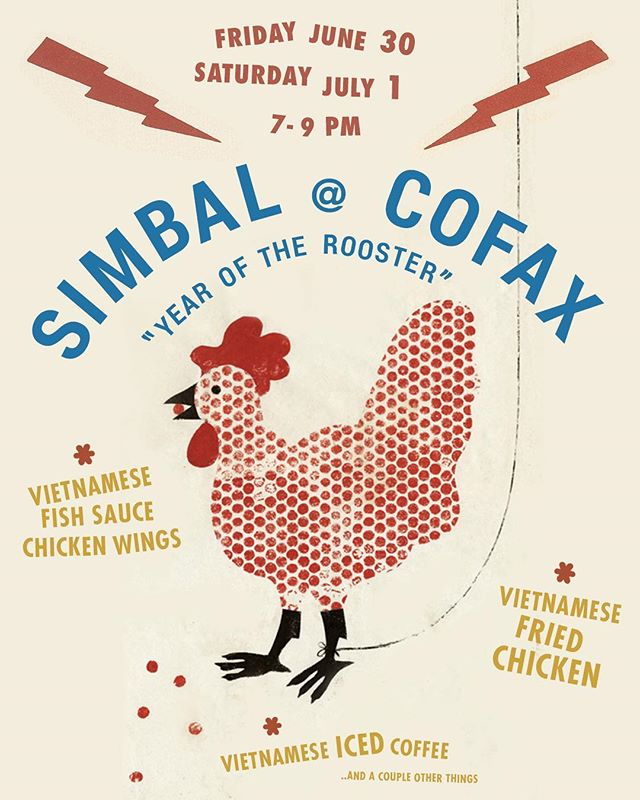 Simbal pop up @cofaxcoffee. There'll be a couple chicken dishes... and a couple other things! 7pm till sold out!
