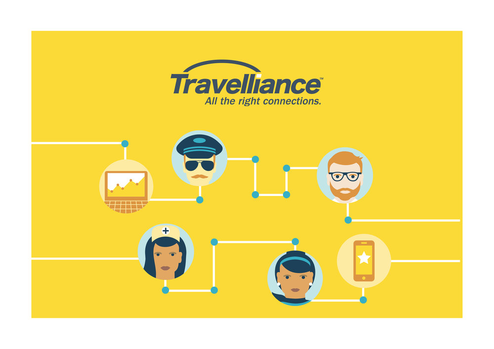 TRAVELLIANCE   Website | Art Direction | Illustration    When you offer disruptive software solutions and market leading service, you want prospects to notice—Hey, these guys are different. Personality-filled branding helps Travelliance soar beyond conservative, look-alike travel management sites and readies the runway for engaging new marketing campaigns.    Site design and development: Craig Rentmeester, Relevante Marketing, Illustration: Kelly Abeln