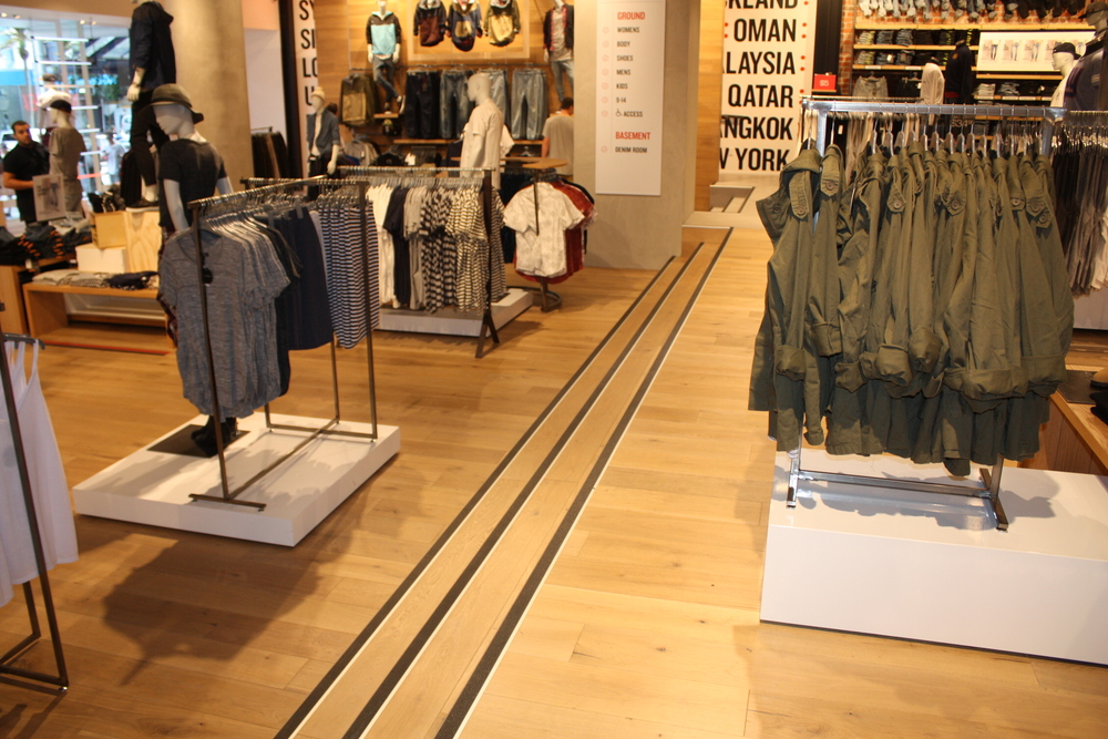 Retail display wooden floor