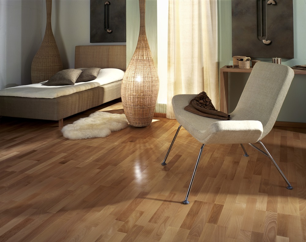 wooden floor with designer furniture