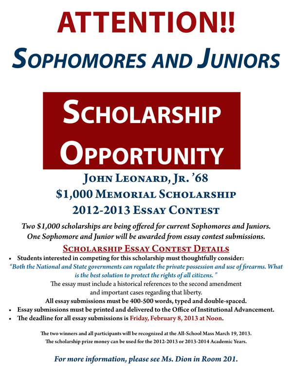 The John Leonard Jr 68 Scholarship Opportunity on Parent Involvement Activities For January