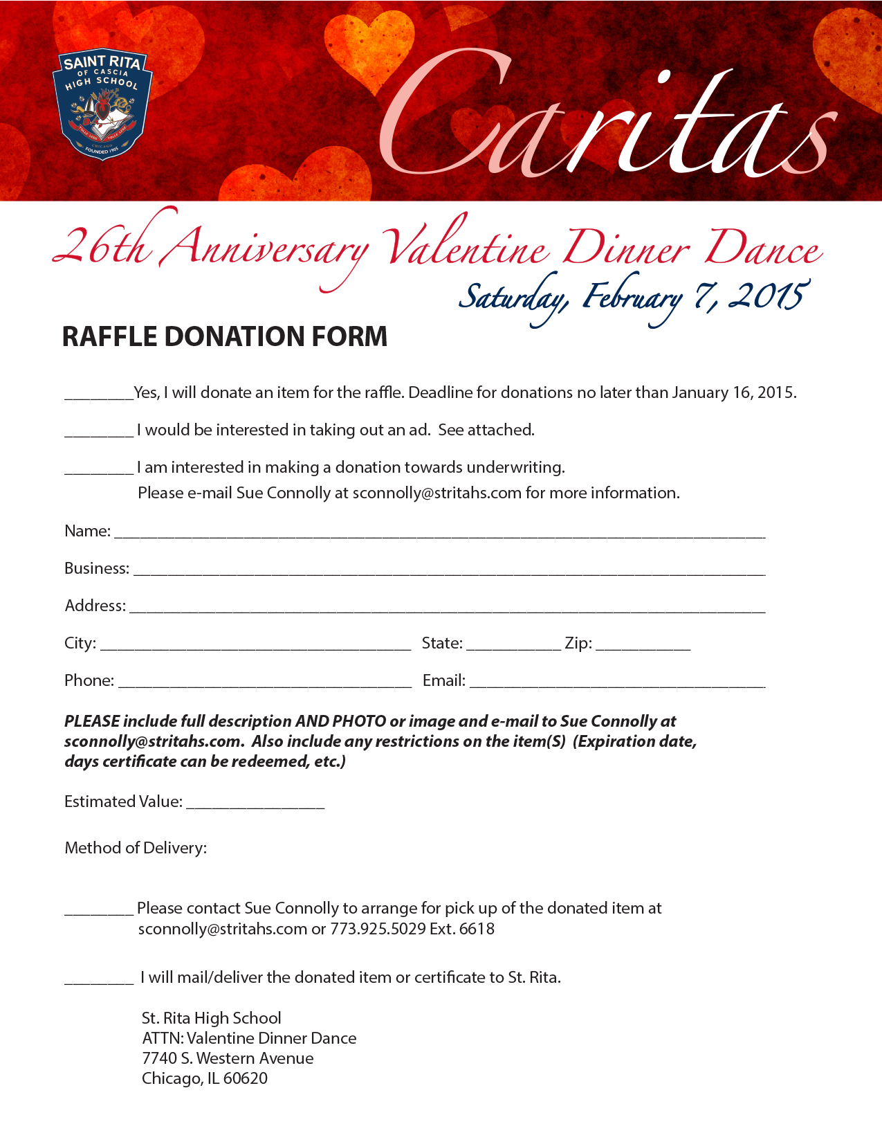 CARITAS DONATION FORM