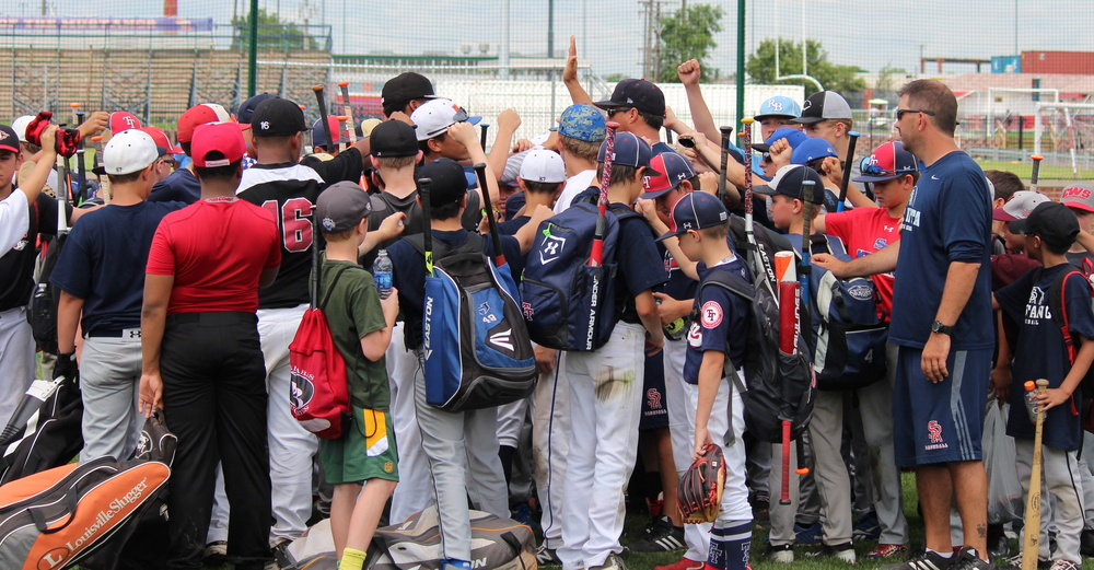 Baseball campers get together after a day of strong work