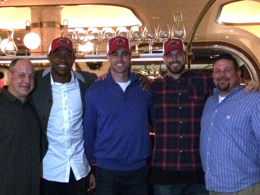 St. Rita Alumnus Tim McGee '91, Chicago Bears Alshon Jeffrey, Zach Miller and Pat O'Donnell and Coach Todd Kuska '90