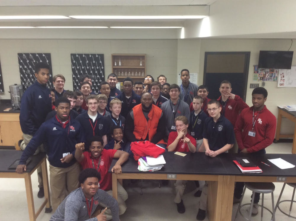 Chicago Bear Bruce Gaston '10 with Mrs. Pangrazio's class on Monday, February 8, 2016