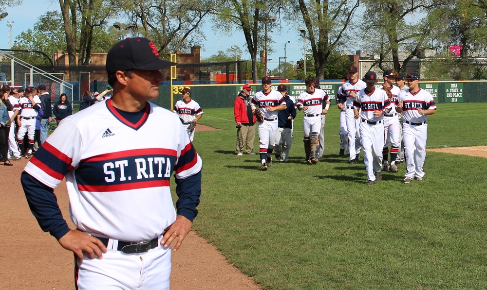 St. Rita Head Baseball Coach Mike Zunica and the St. Rita Mustangs Baseball Team