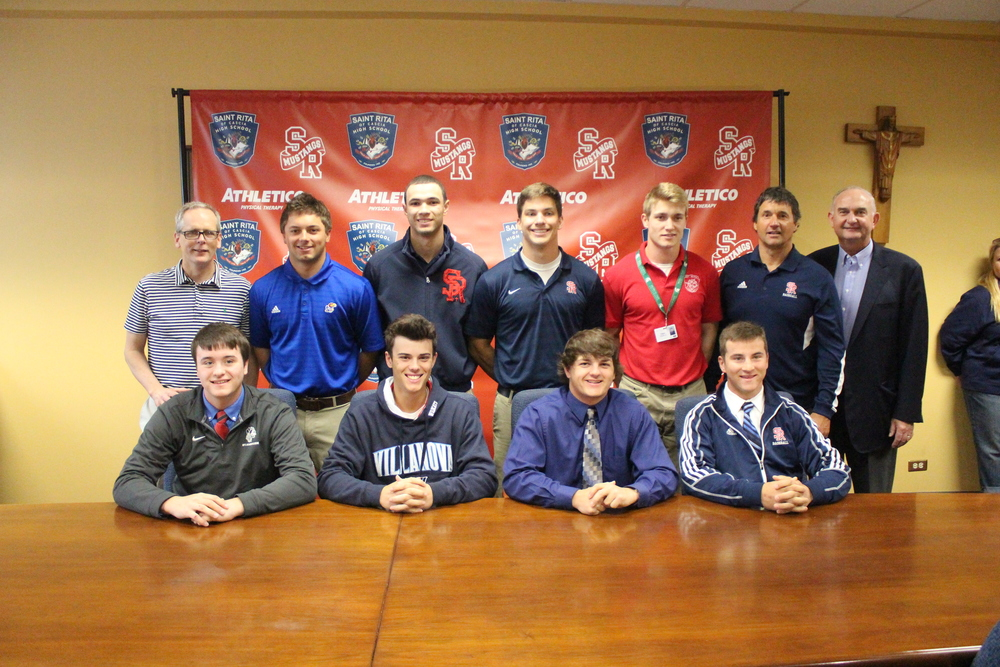 Back row (L to R): St. Rita Principal Mr. Brendan Conroy, Mateo Zunica, Max Franklin, Christian Pearl, Danny Gleaves, Head Baseball Coach Mr. Mike Zunica, President Mr. Ernie Mrozek '71 Front row (L to R): Mike Smith, Dominic Sarro, Ray Hansen, Luke Bechina.