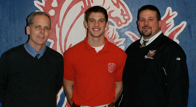 (L to R:) Principal Brendan Conroy (Hon), Max Kurucar '12 and Head Coach Todd Kuska '90