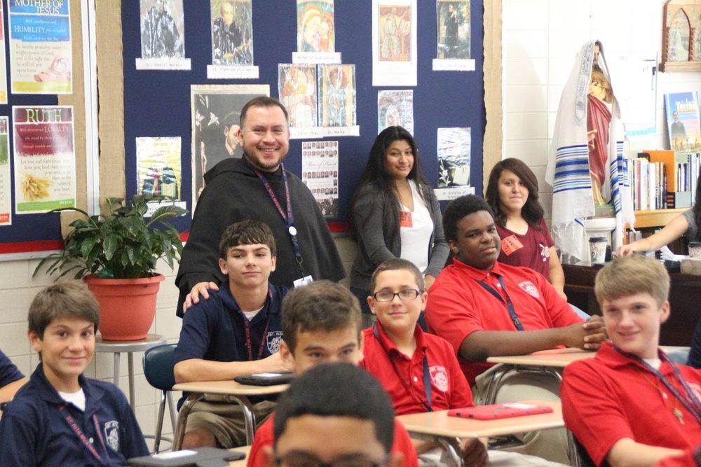 Br. Joe Ruiz, O.S.A. will his freshemen Theology class.