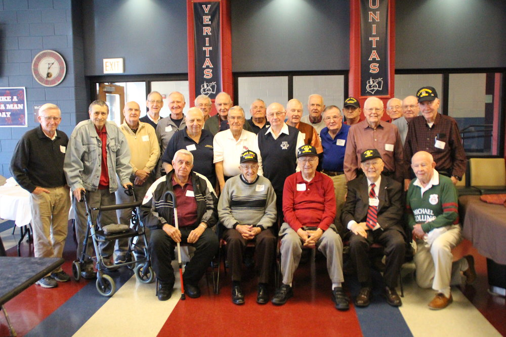 "St. Rita U.S. Military Veteran Alumni attend a special Veterans Day week ""Ritamen Lunch"" in the McCarthy Center on Wednesday, November 9."