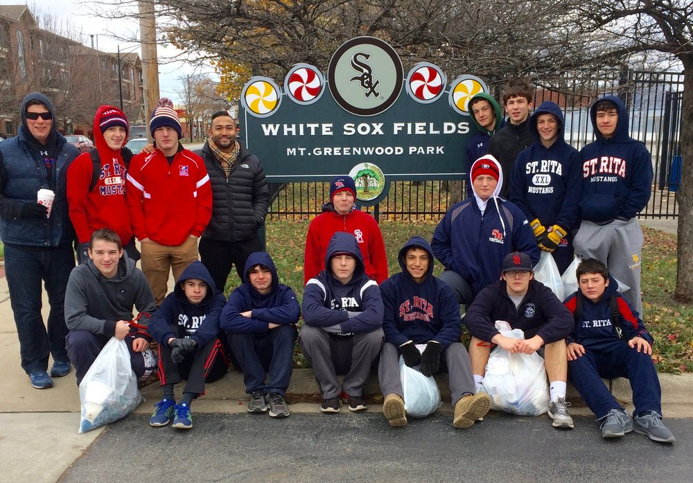 St. Rita Wrestlers Volunteering at Mt. Greenwood Park