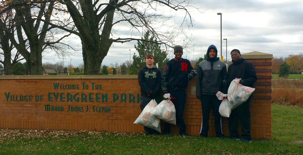 St. Rita Wrestlers Volunteering in Evergreen Park
