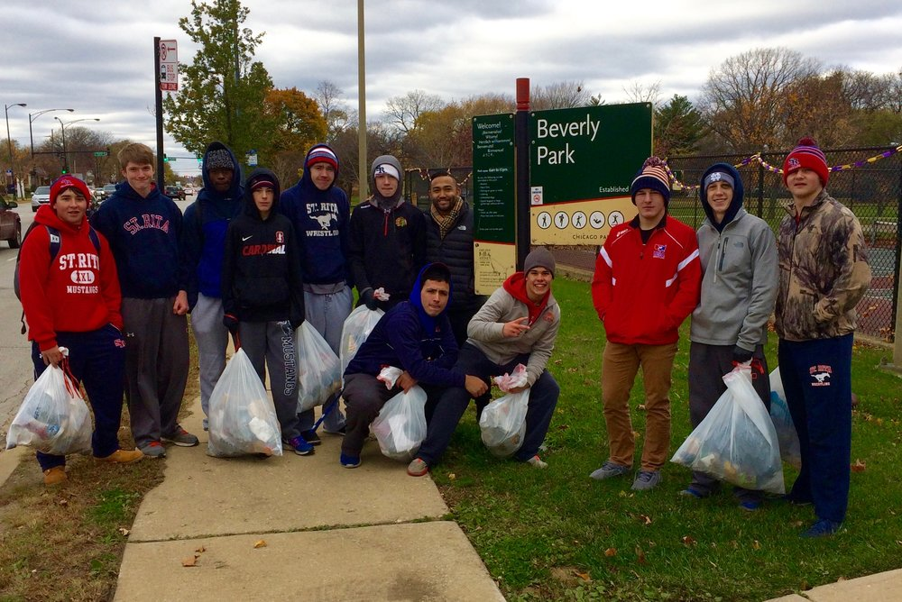 St. Rita Wrestlers Volunteering at Beverly Park