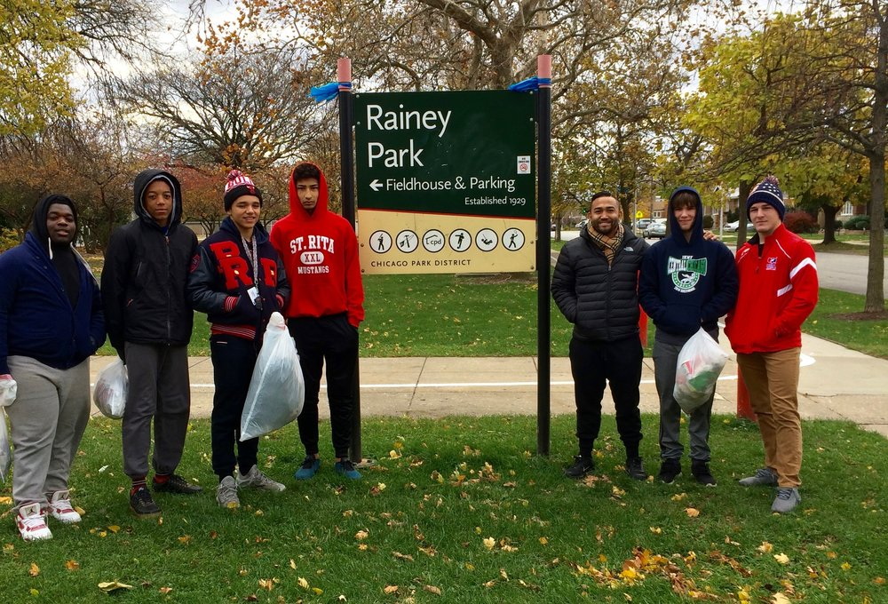 St. Rita Wrestlers Volunteering at Rainey Park in Scottsdale