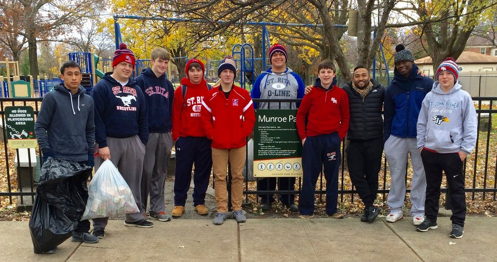 St. Rita Wrestlers Volunteering at Munroe Park in Beverly