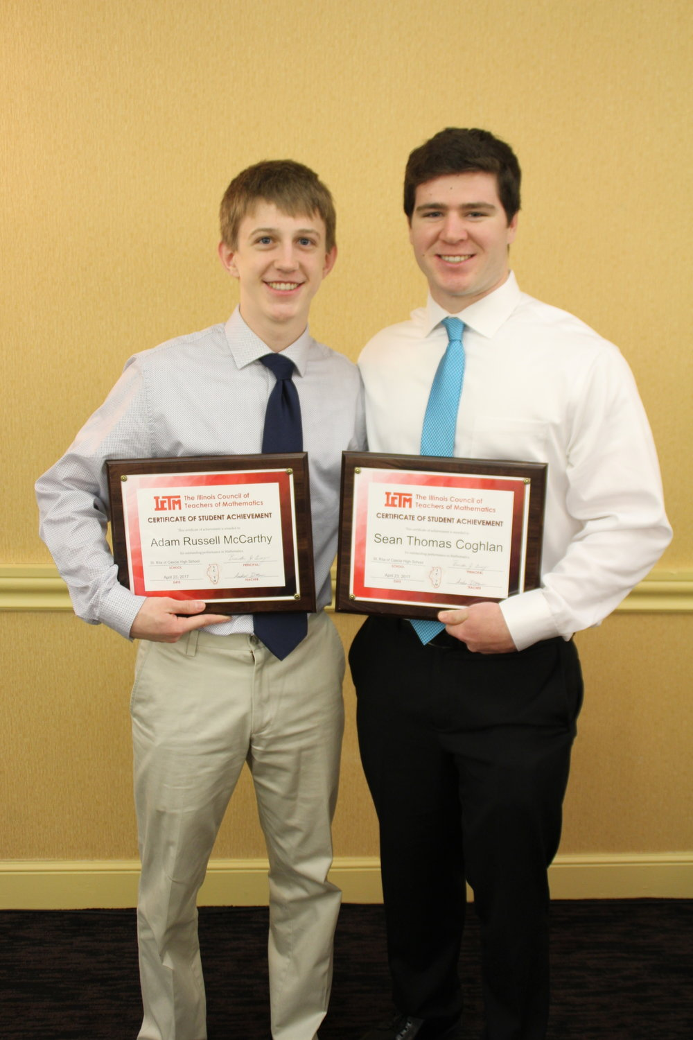 Mathematics Awardees Adam McCarthy and Sean Coghlan