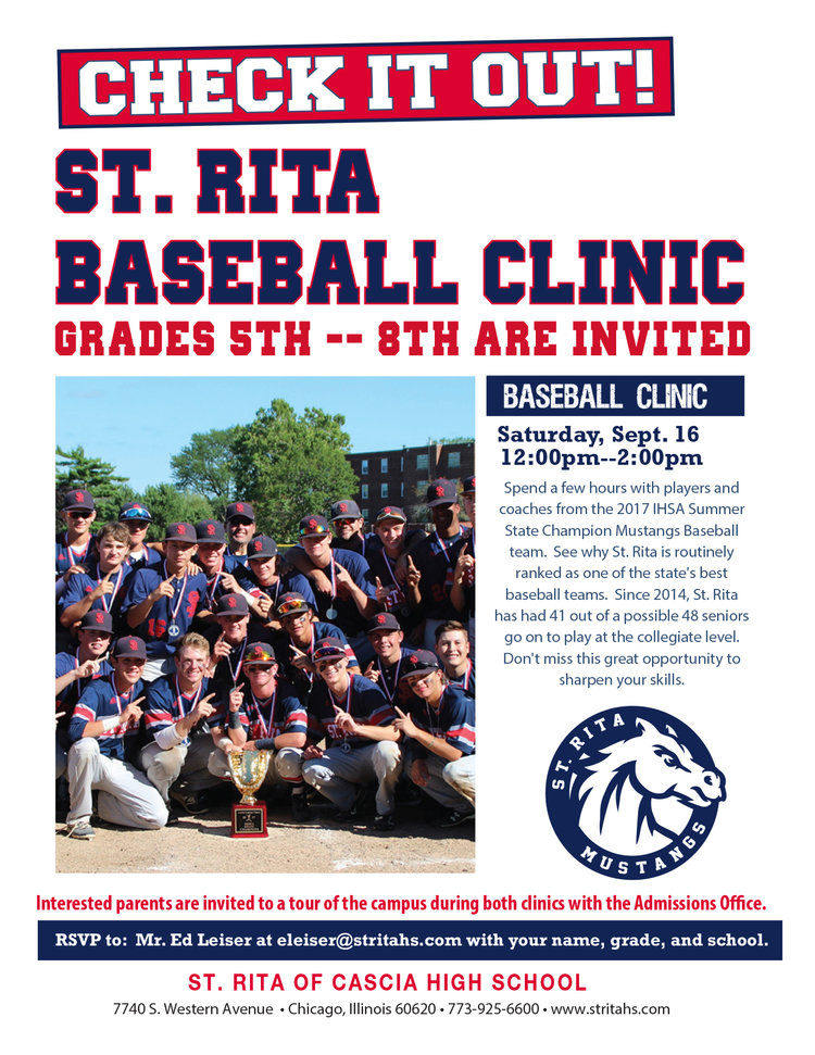 Grade School Baseball Clinic  St Rita Of Cascia High School