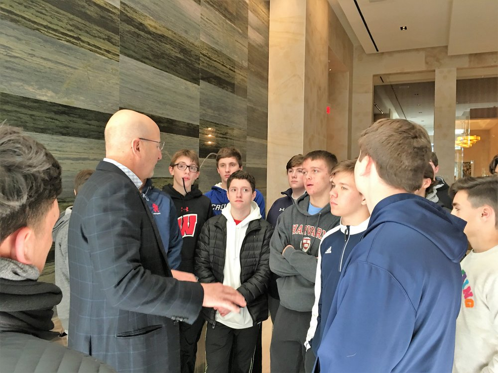 Joe Corbo, Chief Counsel for Borgata Casino gives the students a behind the scenes tour of the the Borgata and helps the boys understand the kinds of job opportunities that are available.