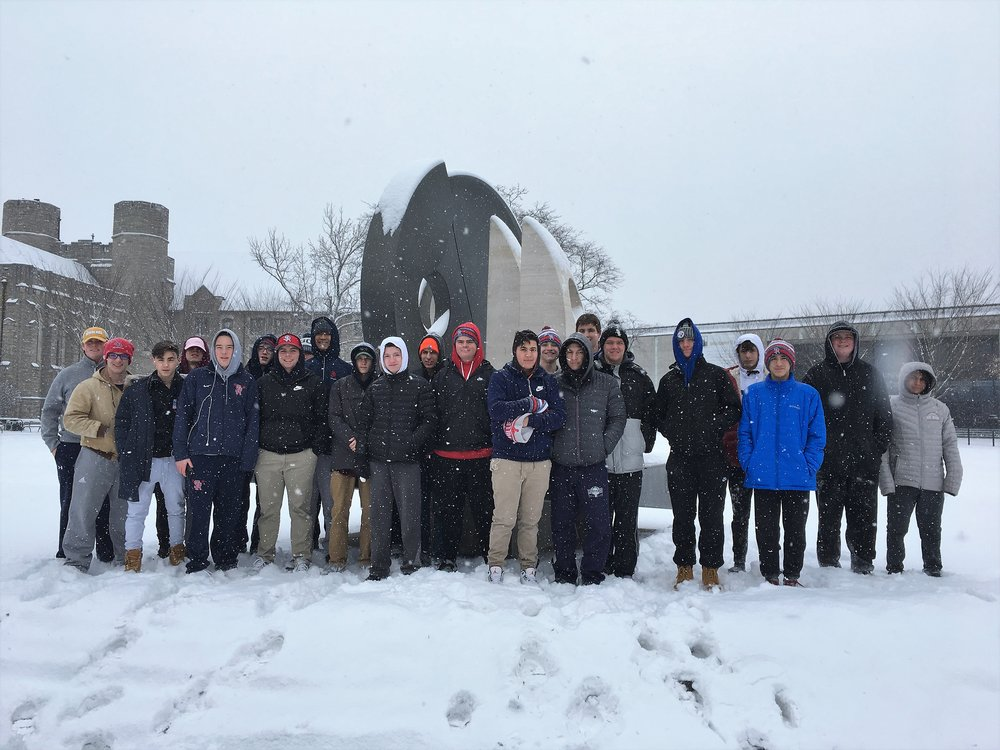 St. Rita students on the campus of Villanova University during the snowfall.