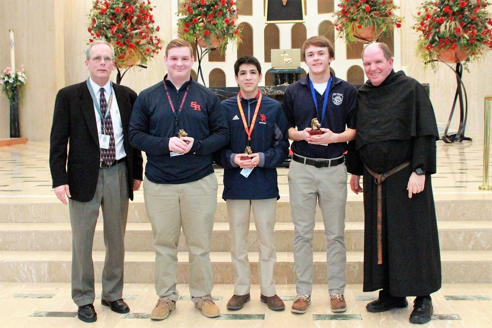 From L to R:  Principal Mr. Brendan Conroy, Graham Zelek '20, Emilio Alvarez '21, Paddy Jacobus '19 and Head of School Fr. Paul Galetto, O.S.A. ( not pictured:  Jacob Pellegrini '18)