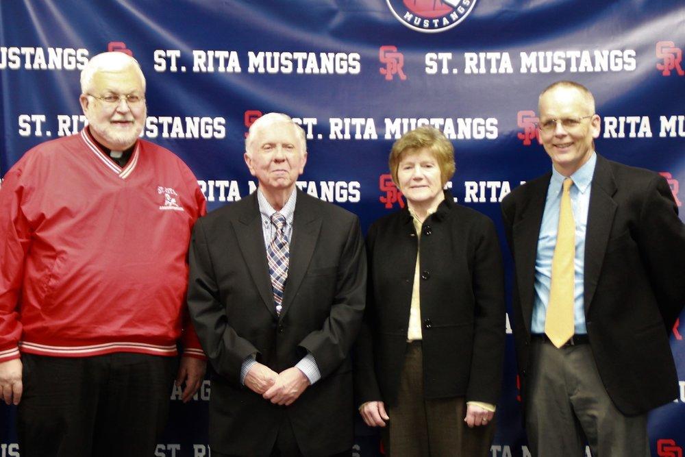 Former principals Fr. Bernard Danber, O.S.A., Mr. Joe Bamberger, Mrs. Sally Deenihan along with current principal, Mr. Brendan Conroy.