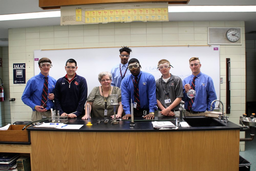 Students gather for Mrs. Krystof's very last AP Chemistry Class