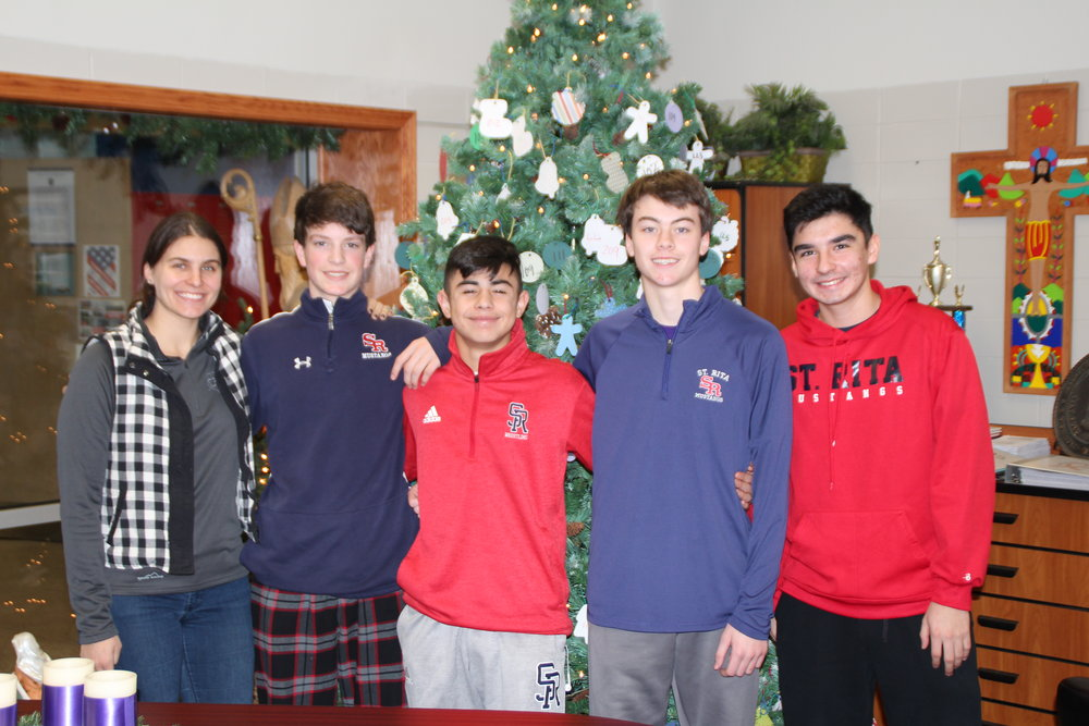 Giving Tree Leaders: Ms. Missy Smialek, Eddie Fidler, Isaac Gaytan-Reilly, Dylan Cooney and Diego Carrillo (Not pictured: Jack Esselman & Tadhg Scanlon)