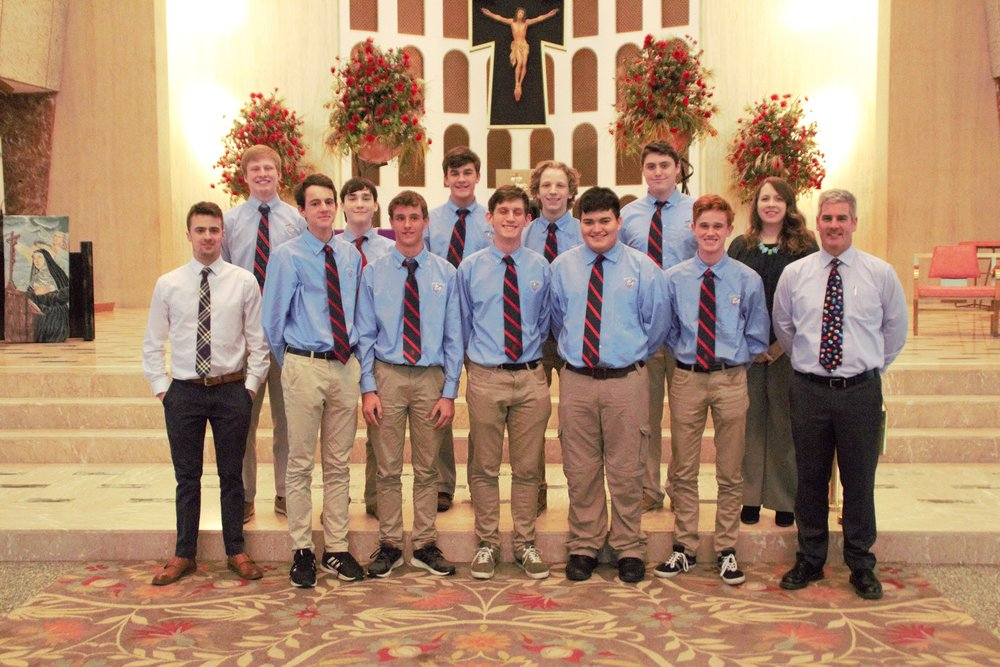 St. Rita Students (back row) shown here with students from Brisbane, Australia with their chaperone Mr. Tony Rolls and St. Rita teachers Mr. KC Perlberg and Mrs. Colleen Earley.