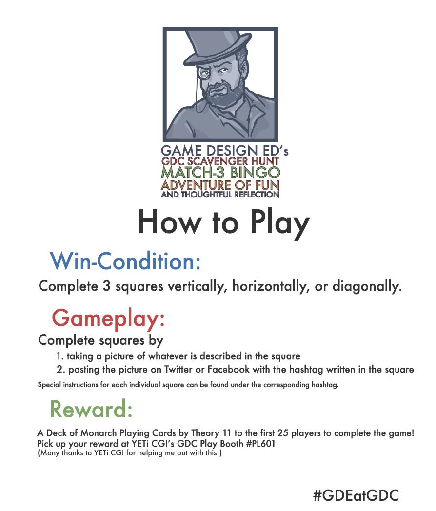 game design ed u0027s gdc scavenger hunt match 3 bingo adventure of fun