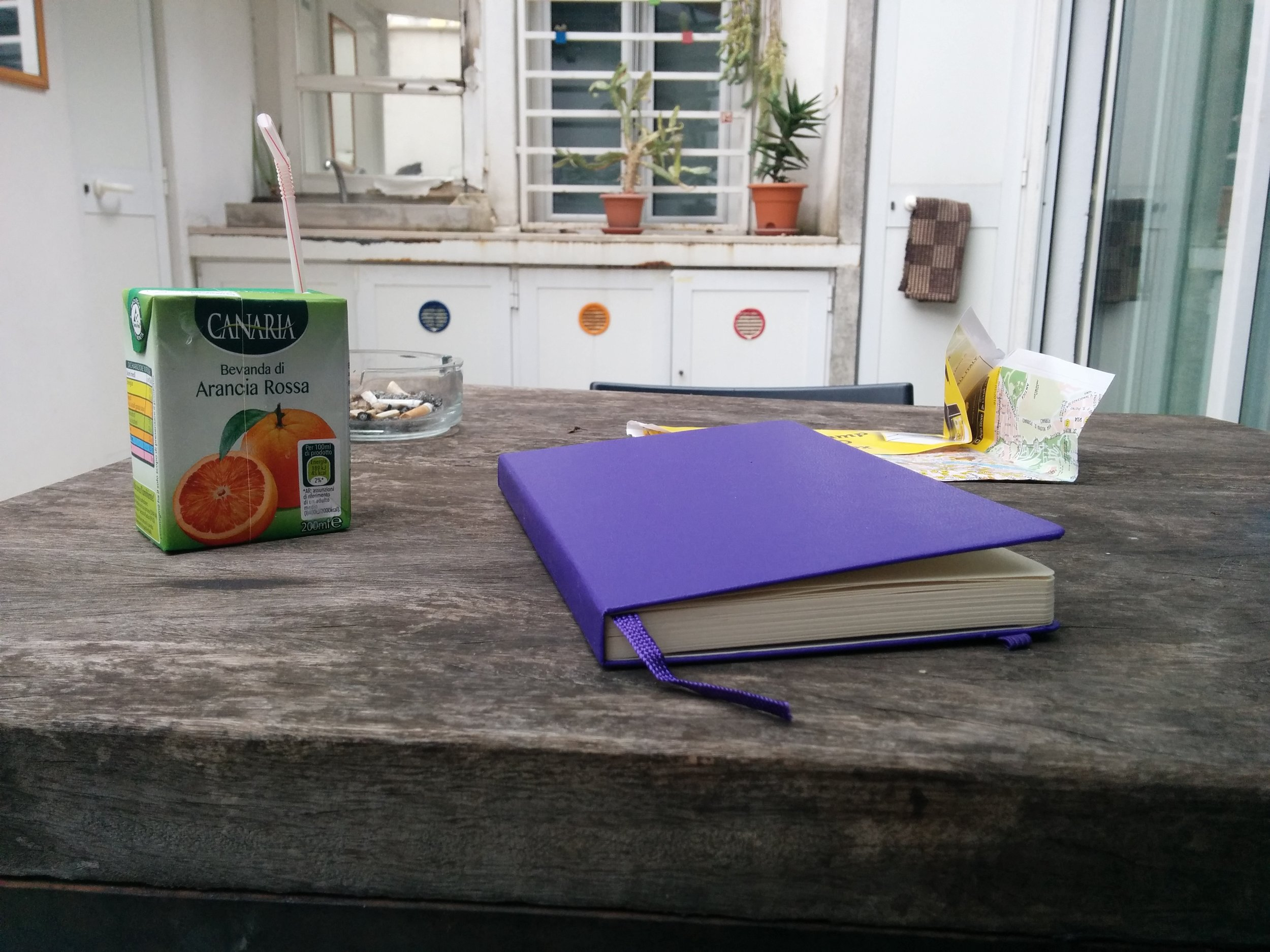 I enjoyed journaling everyday. Here is my set-up (not my cigarettes) at our airbnb.