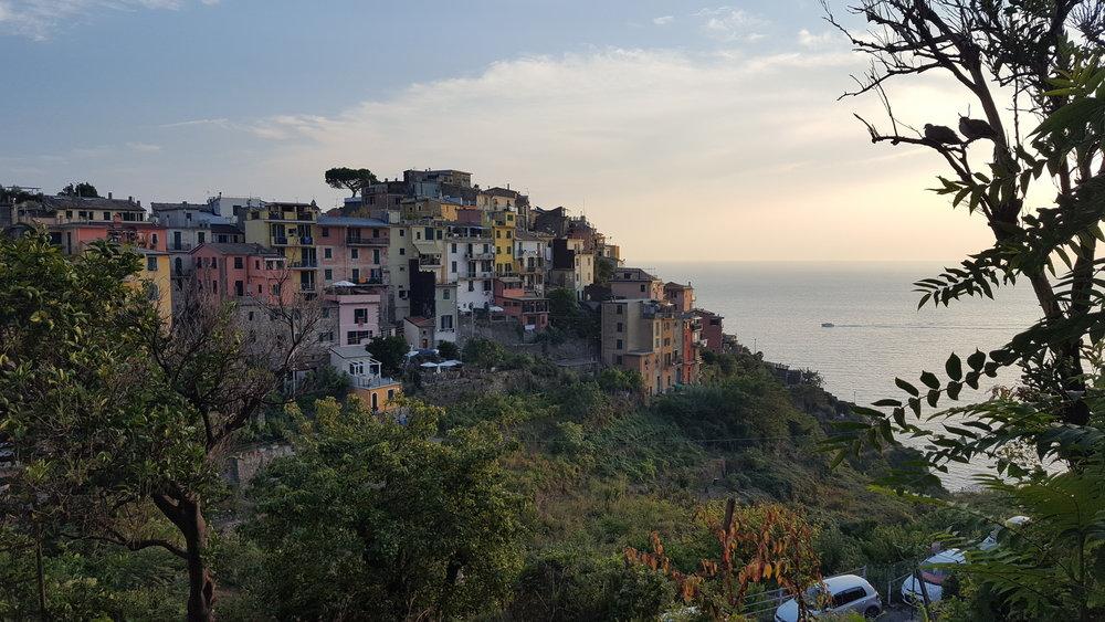 The village of Corniglia, one of the 5 (cinque in Italian) 'terres' of Cinque Terre.