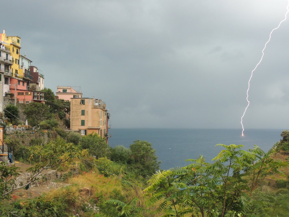 Watching a storm roll in over the sea in Corniglia. Nick caught some great photos of lighting striking the water.